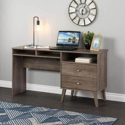 Milo 55 in. Mid Century Modern Drifted Gray 2 Drawer Computer Desk with Side Storage