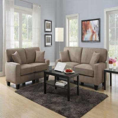 RTA Martinque 73 in. Brown/Brown Polyester 2-Seater Sofa with Removable Cushions