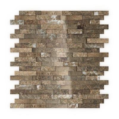 Bengal Brown 4 in. x 4 in. Stone Self-Adhesive Wall Mosaic Tile Sample