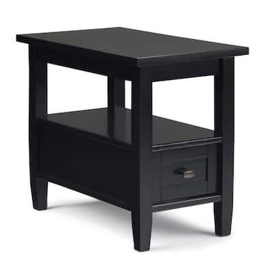 Warm Shaker Solid Wood 14 in. Wide Rustic Narrow Side Table in Black