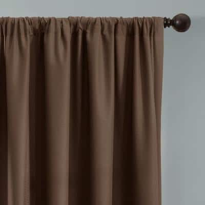 Chocolate Geometric Thermal Blackout Curtain - 50 in. W x 84 in. L