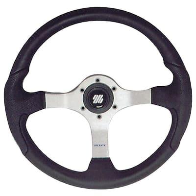 Polished Nisida Steering Wheel with Black Grip