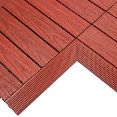 1/6 ft. x 1 ft. Quick Deck Composite Deck Tile Inside Corner Fascia in Swedish Red (2-Pieces/Box)