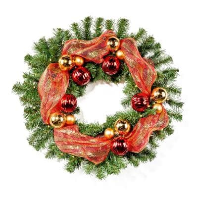 24 in. Pre-Lit LED Artificial Christmas Wreath with Gold and Red Ornaments