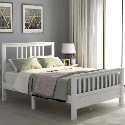 White Full Wood Platform Bed with Headboard and Footboard