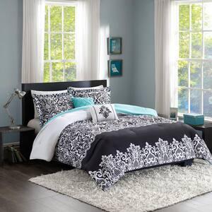 Hazel 5-Piece Black/Aqua King Comforter Set