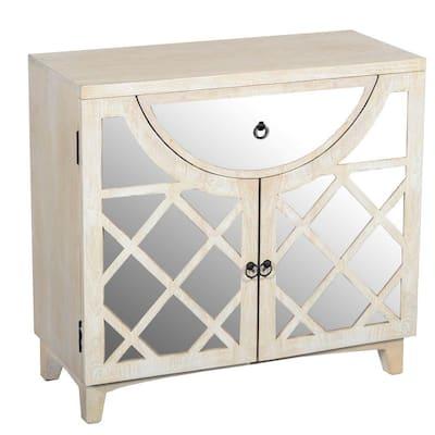 Beige Mango Wood Cabinet with Mirrored Look Steel Insert Door Storage