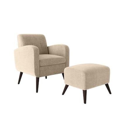 Metro Barley Tan Plush Low-Pile Velour Arm Chair and Ottoman Set
