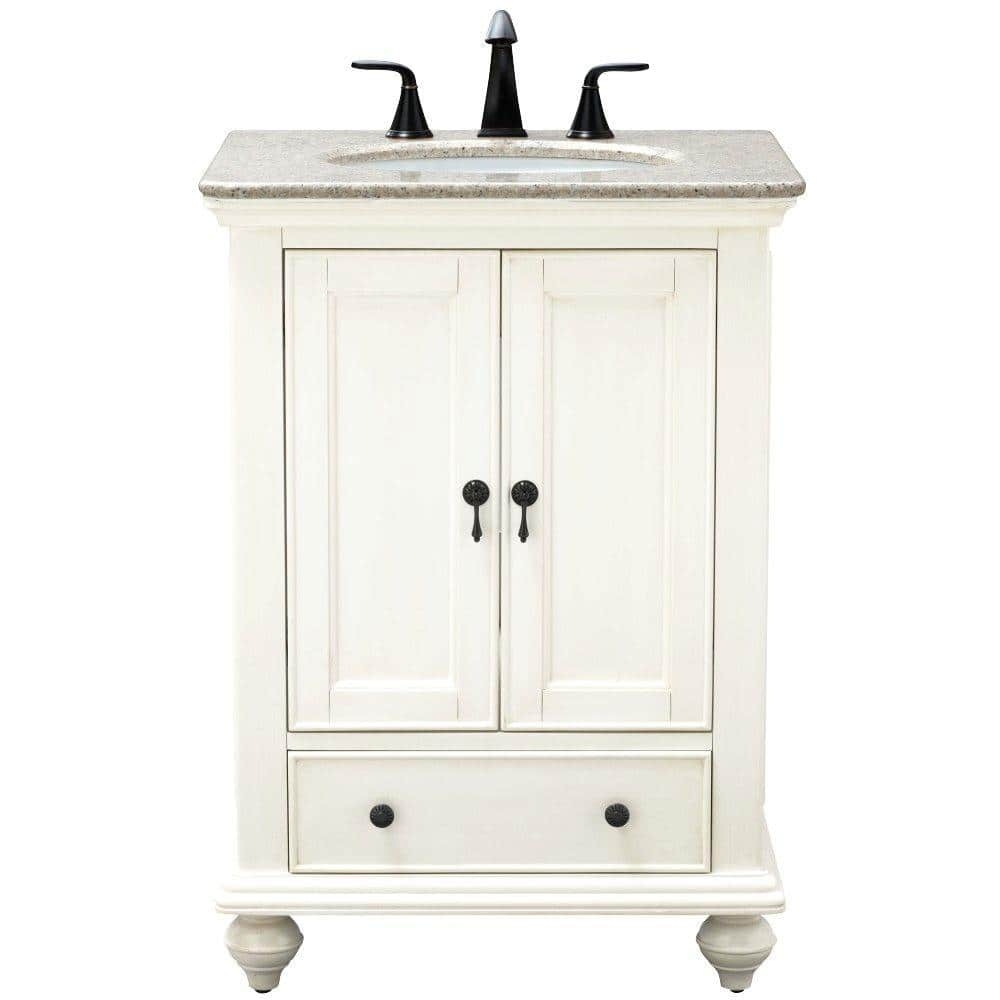 Home Decorators Collection Newport 25 In W X 21 5 In D Bath Vanity In Ivory With Granite Vanity Top In Champagne With White Sink 9085 Vs25l Dw The Home Depot