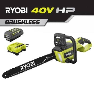 18 in. HP 40V Brushless Lithium-Ion Electric Cordless Battery Chainsaw - 5.0 Ah Battery and Charger Included