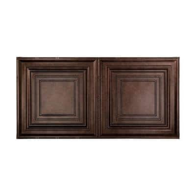 Traditional #3 2 ft. x 4 ft. Glue Up Vinyl Ceiling Tile in Smoked Pewter (40 sq. ft.)