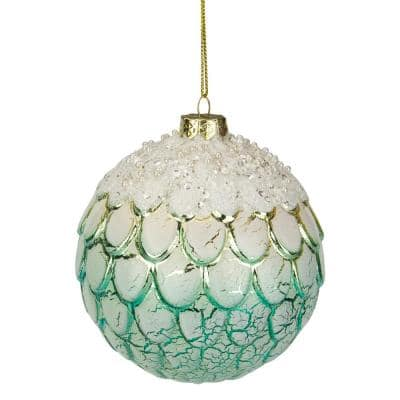 4 in. Mint Green Ombre Layered Glass Christmas Ball Ornament
