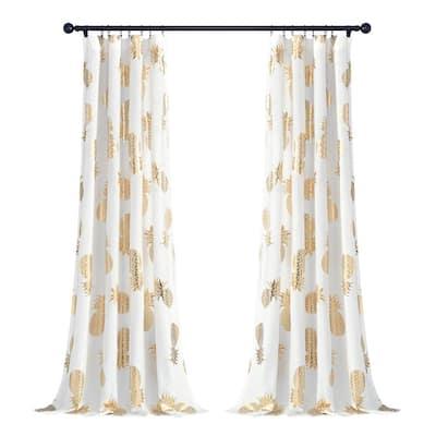 Pineapple Toss Window Curtain Panels Gold 52X95 Set