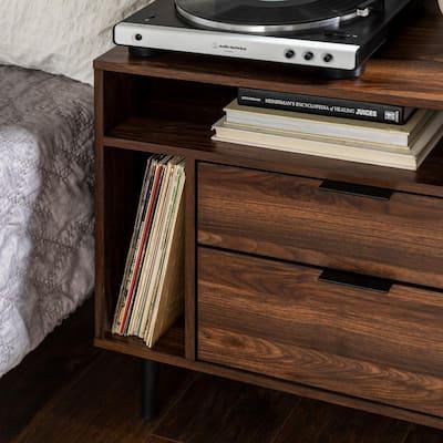 """25"""" Modern Storage Side Table - Dark Walnut"""