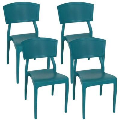 Elmott Teal Plastic Indoor Outdoor Patio Dining Chair (4-Pack)