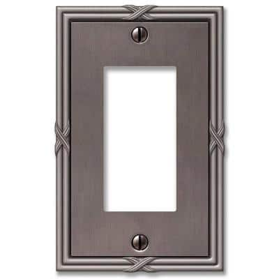 Ribbon and Reed 1 Gang Rocker Metal Wall Plate - Antique Nickel