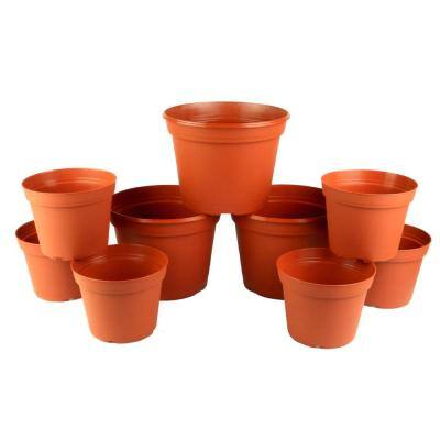 Arcadia Collection 6 in. and 8 in. Terra Cotta Poly Planter Set