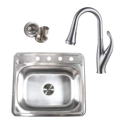 Drop-In 18-Gauge Stainless Steel 25 in. x 22 in. x 9 in. 4 Faucet Hole Single Bowl Kitchen Sink and Faucet Combo