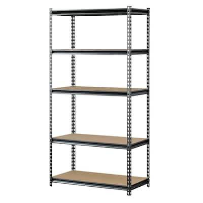 Silver 5-Tier Boltless Steel Garage Storage Shelving (36 in. W x 72 in. H x 18 in. D)