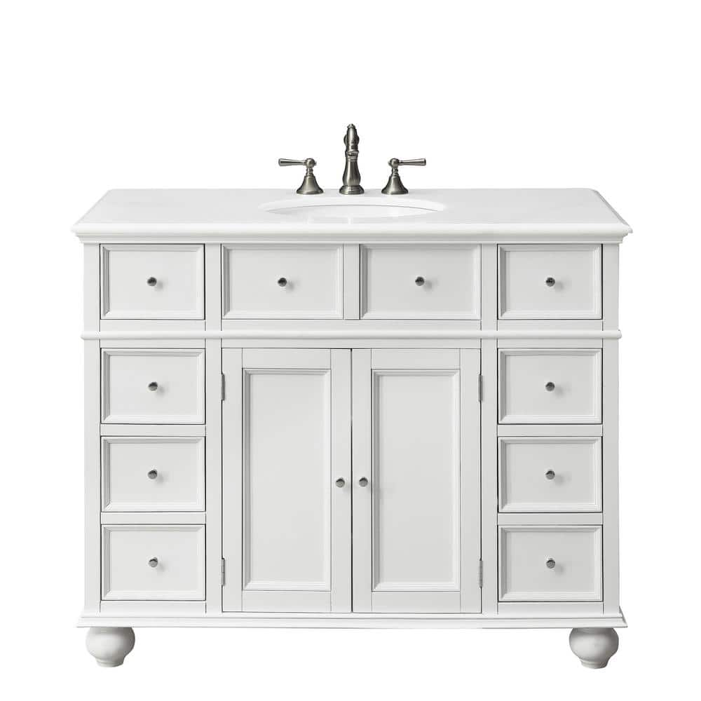 Home Decorators Collection Hampton Harbor 44 In W X 22 In D Bath Vanity In White With Natural Marble Vanity Top In White Bf 21375 Wh The Home Depot