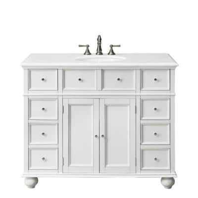 Hampton Harbor 44 in. W x 22 in. D Bath Vanity in White with Natural Marble Vanity Top in White