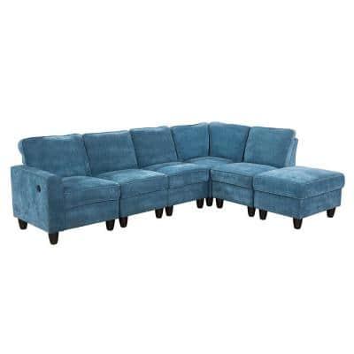 StarHomeLiving Left Facing 103.50 in. Wide Line Sectional Sofa 6 Pc. Set with USB-A, Blue