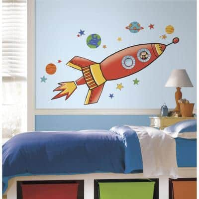 5 in. x 19 in. Rocket Peel and Stick Giant Wall Decal