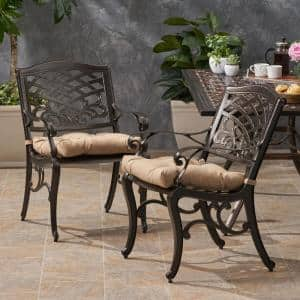 Poway Hammered Bronze Removable Cushions Aluminum Outdoor Dining Chair with Tuscany Brown Cushion (2-Pack)