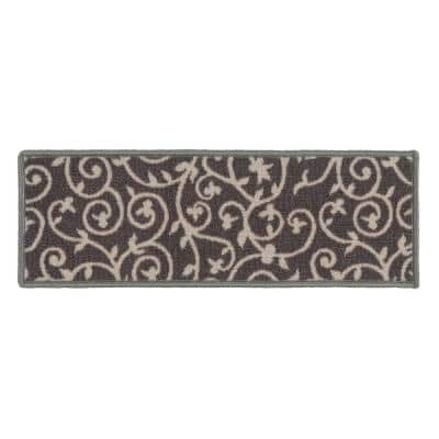 """Contemporary Scroll Non-Slip Stair Treads 8.6"""" x 26"""" Gray (Set of 13)"""