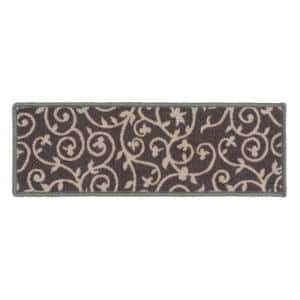 Contemporary Scroll Non-Slip Stair Treads 8.6'' x 26'' Gray (Set of 4)