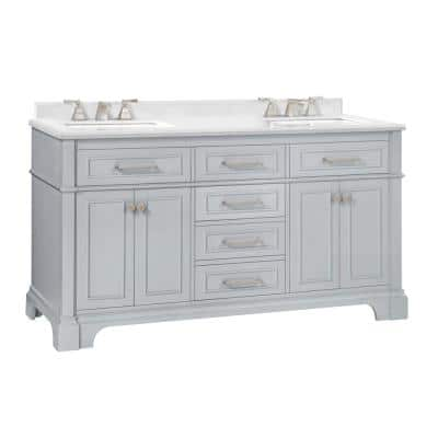 Melpark 60 in. W x 22 in. D Bath Vanity in Dove Grey with a Cultured Marble Vanity Top in White with White Sink