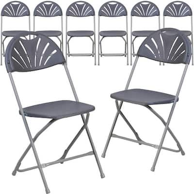 Charcoal Metal Folding Chair (Set of 8)