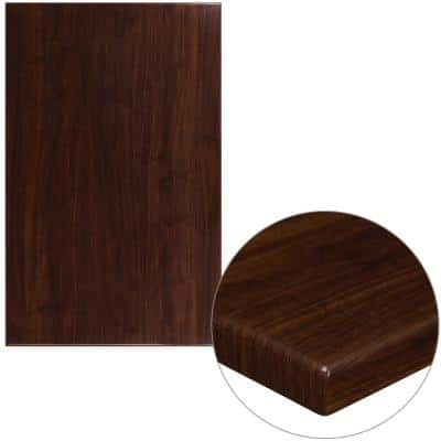 30 in. x 48 in. High-Gloss Walnut Resin Table Top with 2 in. Thick Drop-Lip