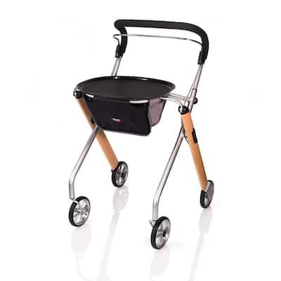 4-Wheels Let's Go Indoor Rollator with in Beech Wood