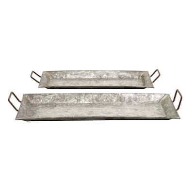 Grey Metal Farmhouse Tray (Set of 2)