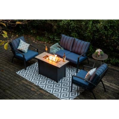 4-Piece Black Aluminum Outdoor Patio Fire Pit Conversation Seating Set with Blue Cushions