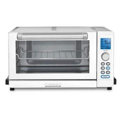 Deluxe 1800 W 6-Slice White Toaster Oven with LCD Display