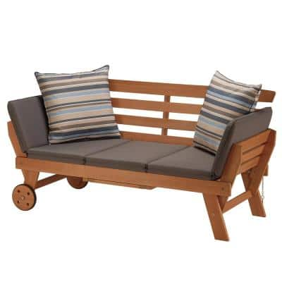 FSC Eucalyptus Grandis Polyester Outdoor Daybed with Slate Gray Cushion and Throw Pillows
