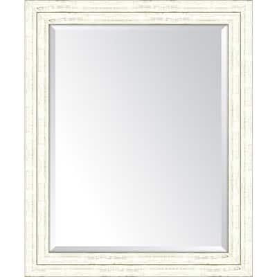 Medium Rectangle White Beveled Glass Classic Mirror (28 in. H x 34 in. W)