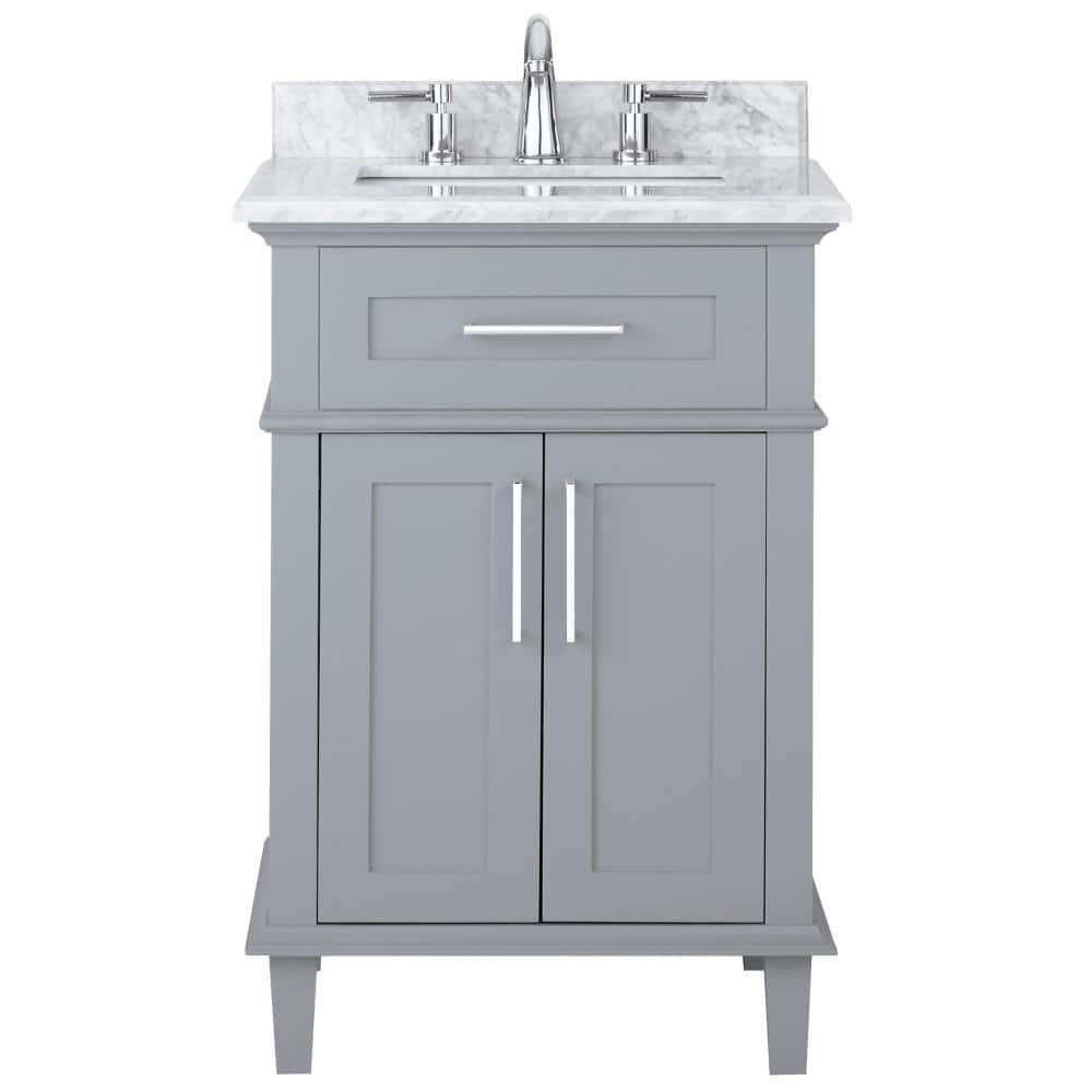 Home Decorators Collection Sonoma 24 In W X 20 25 In D Vanity In Pebble Grey With Carrara Marble Top With White Sinks 9784800240 The Home Depot