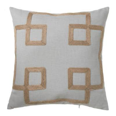 Oceantex Oyster Lattice Outdoor Square Throw Pillow (2-Pack)