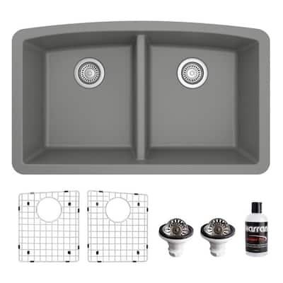 QU-710 Quartz/Granite 32 in. Double Bowl 50/50 Undermount Kitchen Sink in Grey with Bottom Grid and Strainer