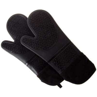 Silicone Black Oven Mitts with Quilted Lining (2-Pack)