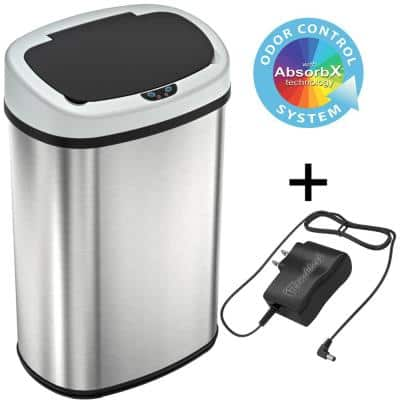 13 Gal. Oval Stainless Steel Automatic Sensor Kitchen Trash Can with Power Adapter