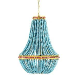 1-Light Blue Beaded Chandelier with Yellow Accents