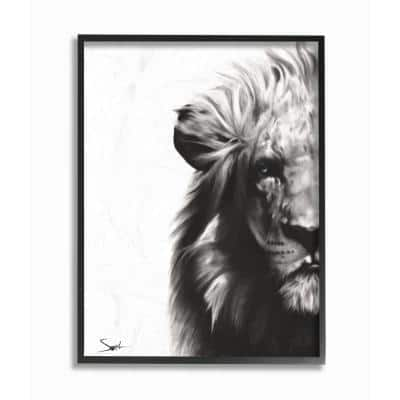 """16 in. x 20 in. """"Black and White Graphite Drawing Textural Lion with Shadows"""" by Eric Sweet Framed Wall Art"""