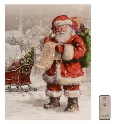 Battery Operated LED Lighted Wall Art - Santa