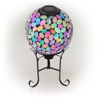 Outdoor Solar Powered Pink Glass Mosaic Gazing Globe with LED Lights and Metal Stand, Violet