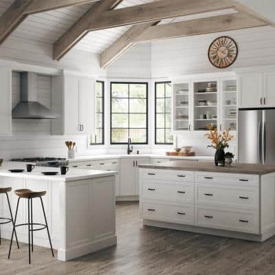 Designer Series Melvern Assembled 33x34.5x23.75 in. Pots and Pans Drawer Base Kitchen Cabinet in White