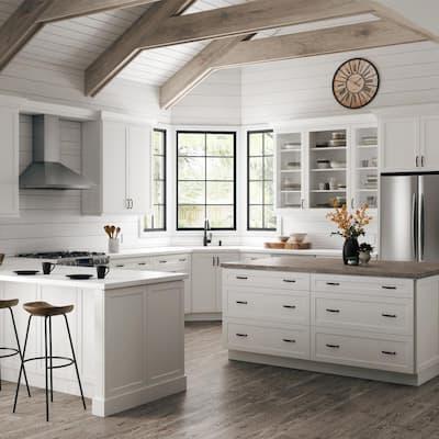 Designer Series Melvern Assembled 36x34.5x20.25 in. Lazy Susan Corner Base Kitchen Cabinet in White